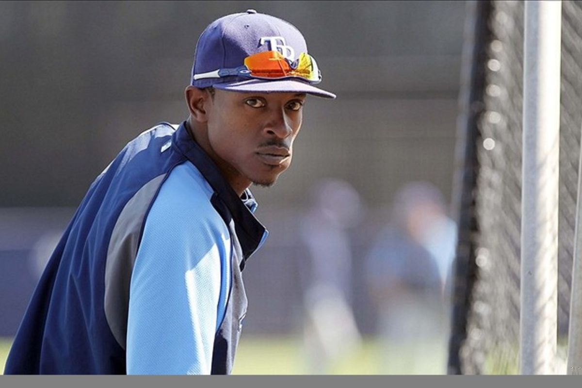 March 7, 2012; Tampa, FL, USA; Tampa Bay Rays center fielder B.J. Upton (2) prior to the game against the New York Yankees during spring training at George M. Steinbrenner Field. Mandatory Credit: Kim Klement-US PRESSWIRE