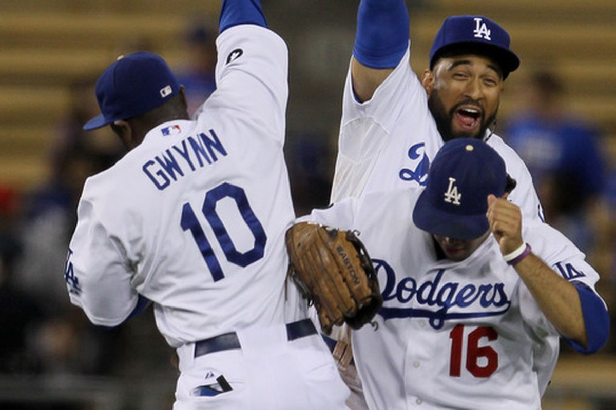 If the Dodgers have a lot of leads to protect, we may be treated to the sight of three Gold-Glove (caliber) outfielders in a celebratory leap.