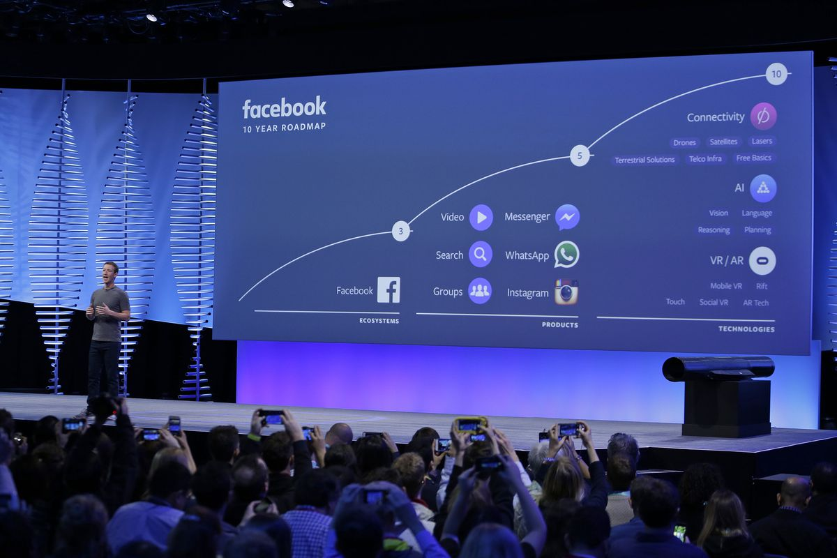 FILE- In this April 12, 2016, file photo, Facebook CEO Mark Zuckerberg talks about the company's 10-year roadmap during the keynote address at the F8 Facebook Developer Conference in San Francisco. Instagram along with Messenger and WhatsApp are serving a