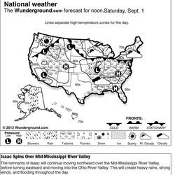 The Weather Underground forecast for Saturday, Sept. 1, 2012 says the remnants of Isaac will continue moving northward over the Mid-Mississippi River Valley, before turning eastward and moving into the Ohio River Valley. This will create heavy rains, strong winds, and flooding throughout the day.