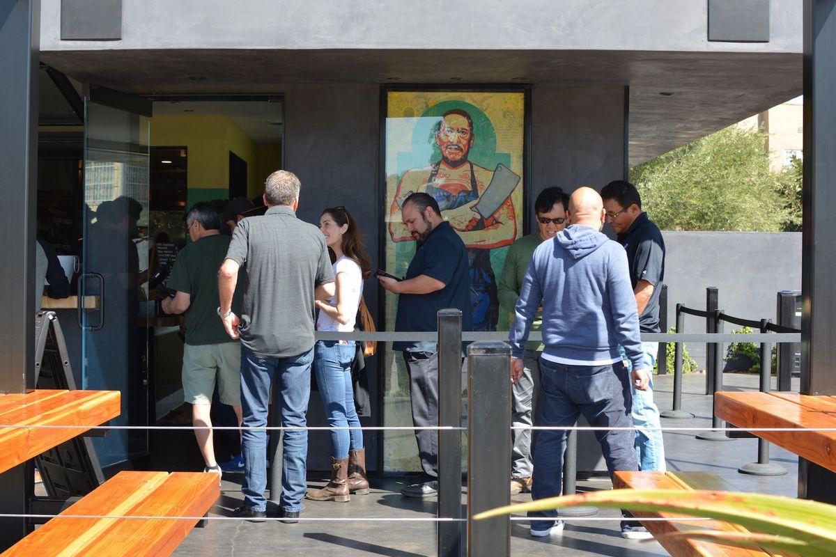 The opening line at Trejo's Tacos, La Brea