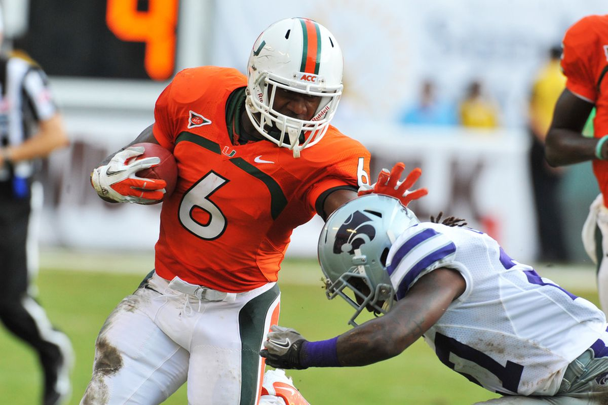 Running back Lamar Miller (6) of the Miami Hurricanes. (Photo by Al Messerschmidt/Getty Images)