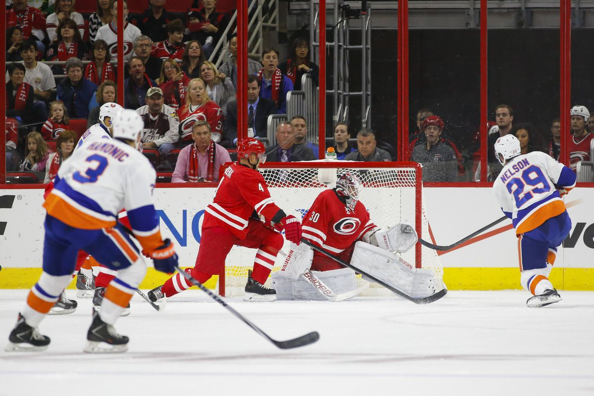 Brock Nelson's four points, including this first-period goal, helped the Islanders to a 5-3 win over the Hurricanes on Friday.
