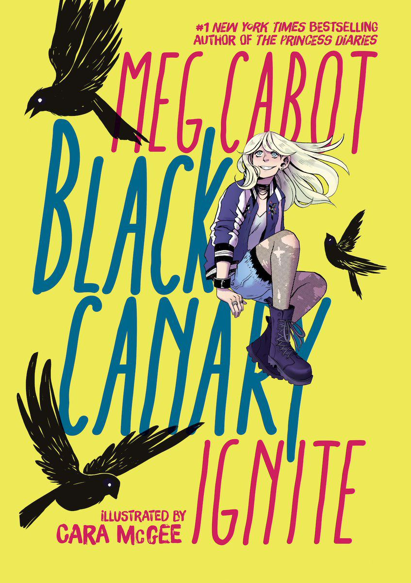 A young Dinah Lance, in shorts, ripped fishnets, and a purple jacket, sits surrounded by black birds on the cover of Black Canary: Ignite, DC Comics (2019).