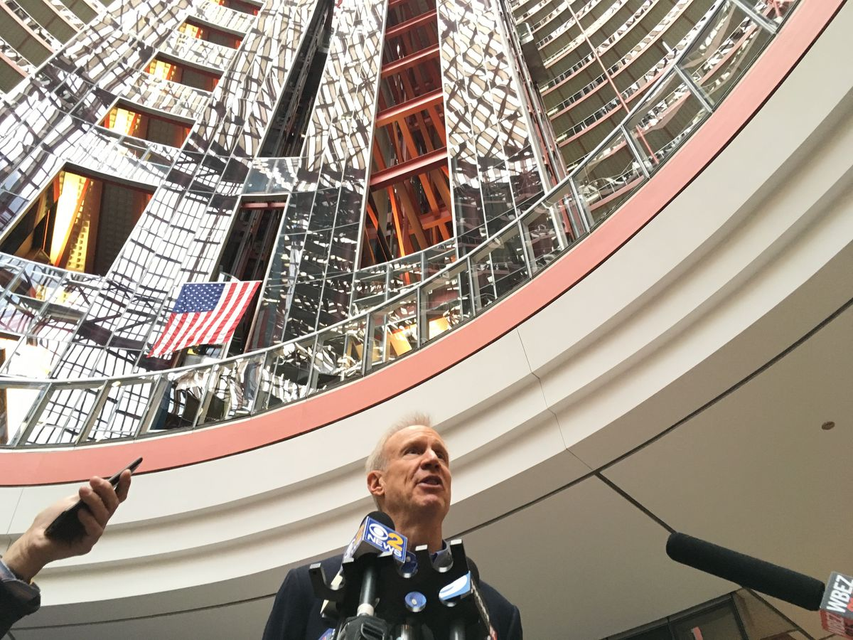 Gov. Bruce Rauner at the Thompson Center on Friday. | Andy Grimm / Sun-Times