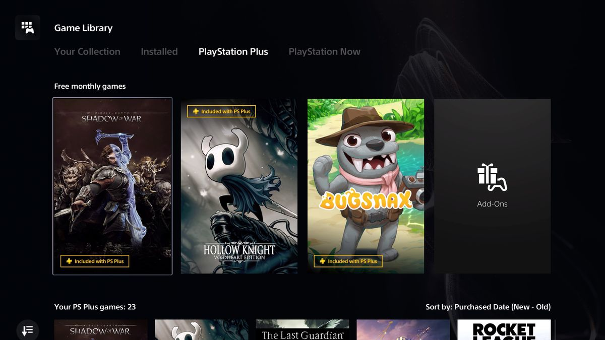 Shadow of War, Hollow Knight and Bugsnax game title cards in the PlayStation 5 games library, all of which can be redeemed via PlayStation Plus.