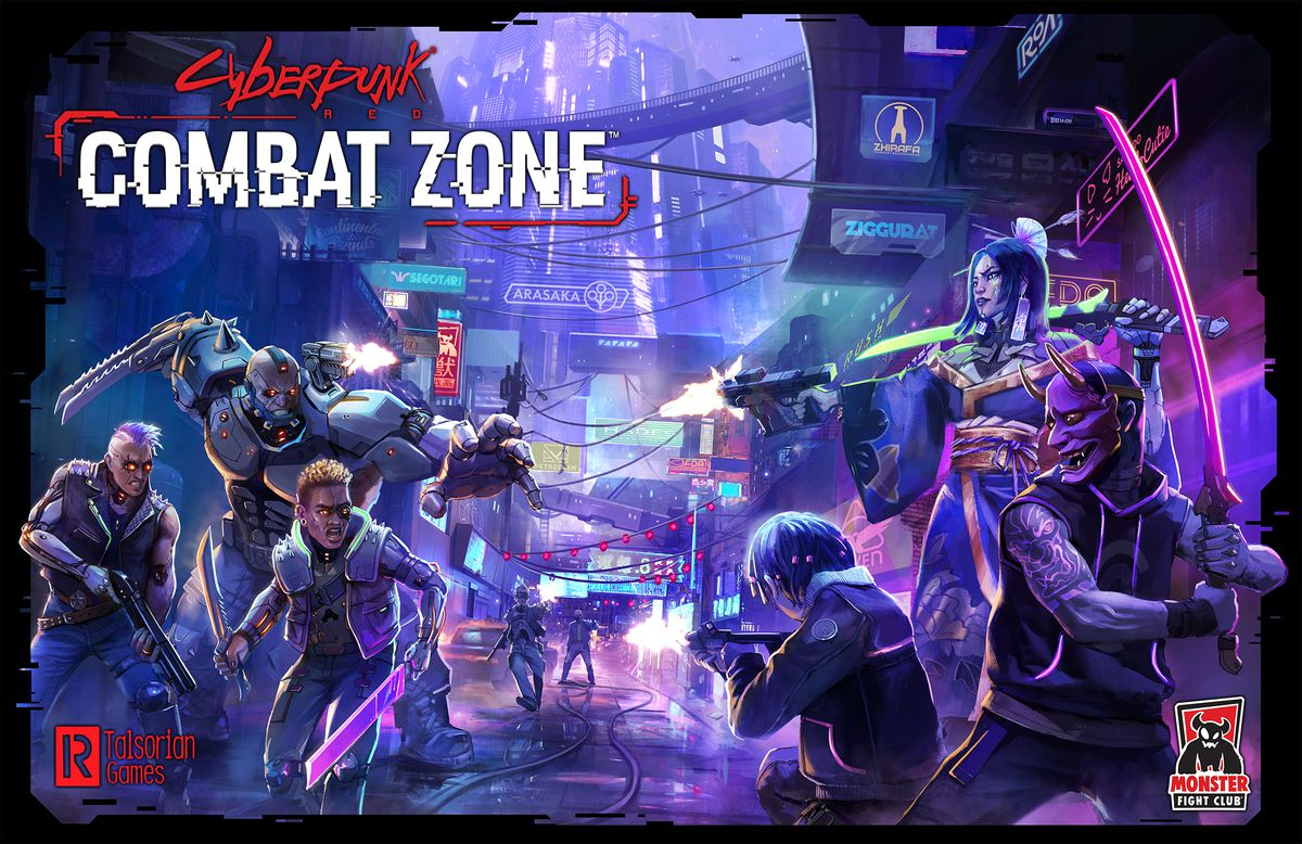 Key art for Cyberpunk Red: Combat Zone shows gangers fighting in the neon streets of Night City.