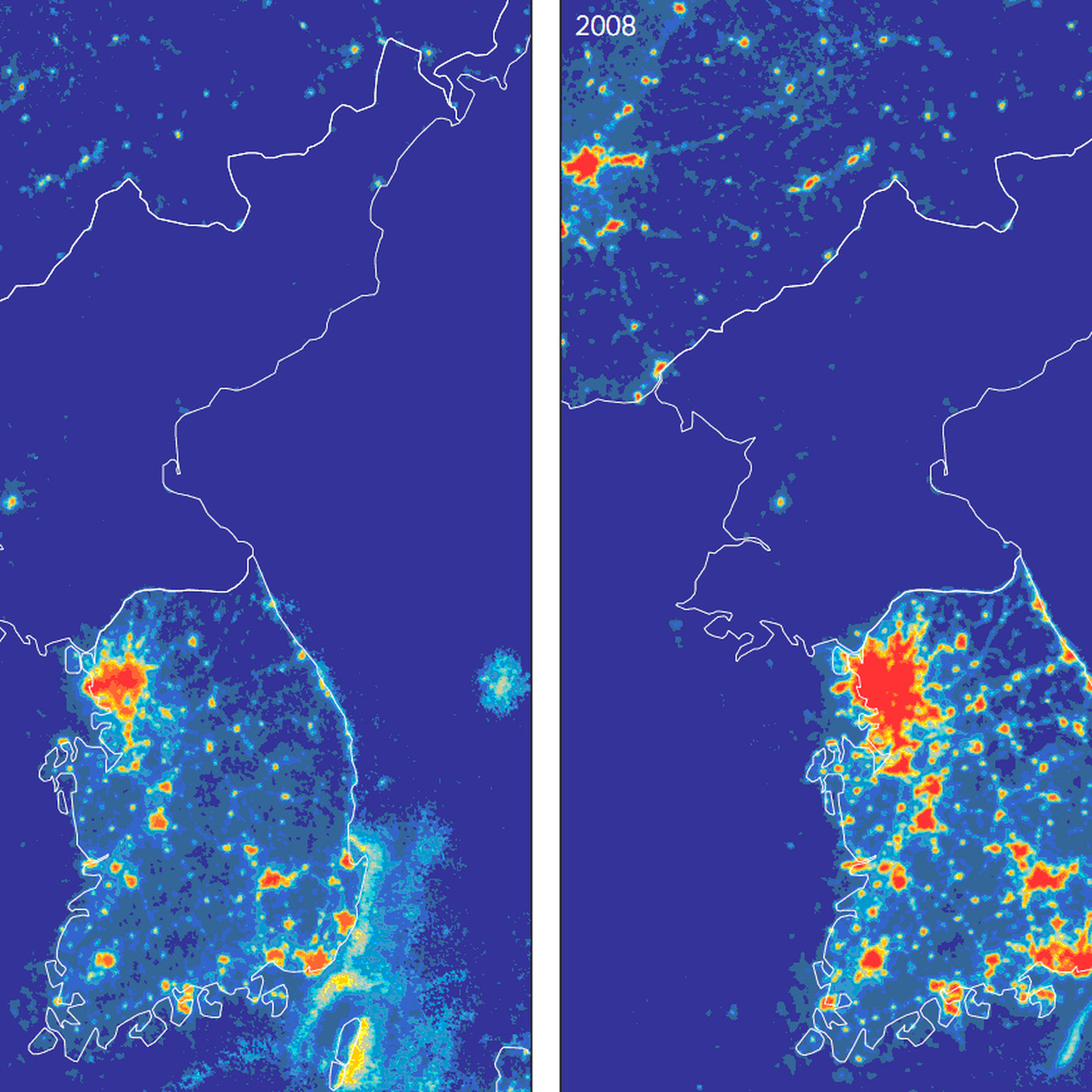 One map that shows just how poor North Korea is - Vox Satellite Map Of North Korea on map of saudi arabia satellite, map of sri lanka satellite, map of greenland satellite, map of israel satellite, map of korean peninsula satellite, map of singapore satellite, map of pakistan satellite, map of philippines satellite,