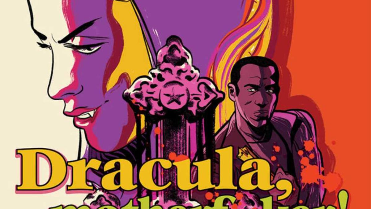 Dracula's wives, Quincy Harker, and an upside down baroque cross, on the cover of Dracula, Motherf**ker!, Image Comics (2020).