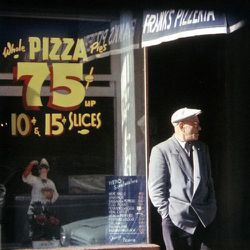 """Frank's Pizza, circa 1952. Pies for 75 cents and slices for 10–15 cents. <span class=""""credit""""> <a href=""""http://ephemeralnewyork.wordpress.com/2011/04/25/walking-the-streets-with-photographer-sol-leiter/"""">[Saul Leiter]</a></span>"""