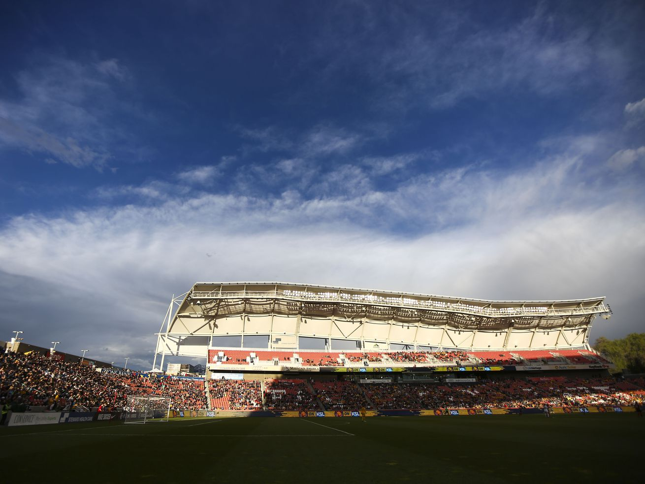 The sun sets over Rio Tinto Stadium in Sandy on Saturday, April 20, 2019.