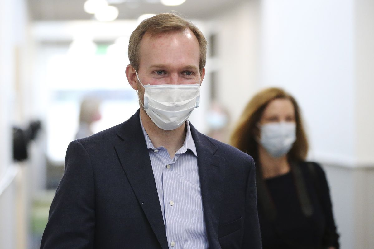 Rep. Ben McAdams, D-Utah, visits the Salt Lake County Public Health Center in Salt Lake City on Tuesday, April 28, 2020. McAdams thanked employees who are producing vital data about the source of the county's COVID-19 infections.