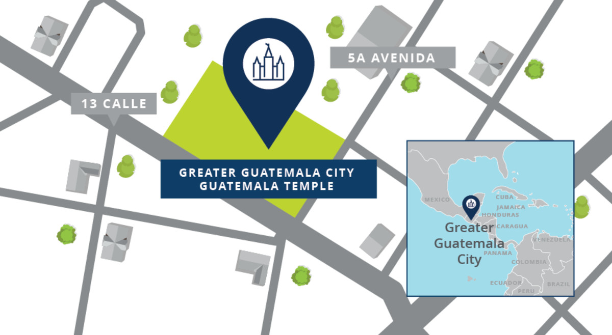 A map showing the location of the Greater Guatemala City Guatemala Temple.