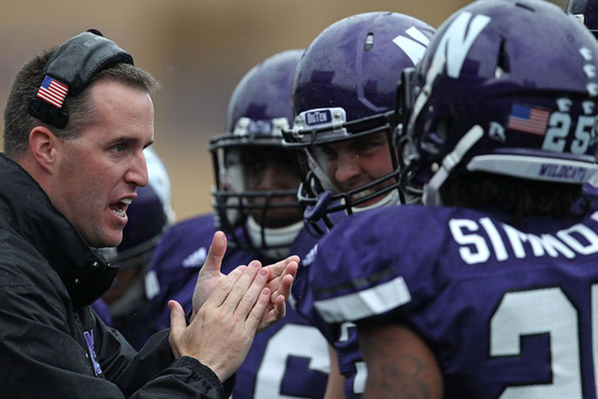 Pat Fitzgerald's passion is one major reason Northwestern is heading in the right direction....despite a record that has gone down each year from 2008-2011. (Photo by Jonathan Daniel/Getty Images)