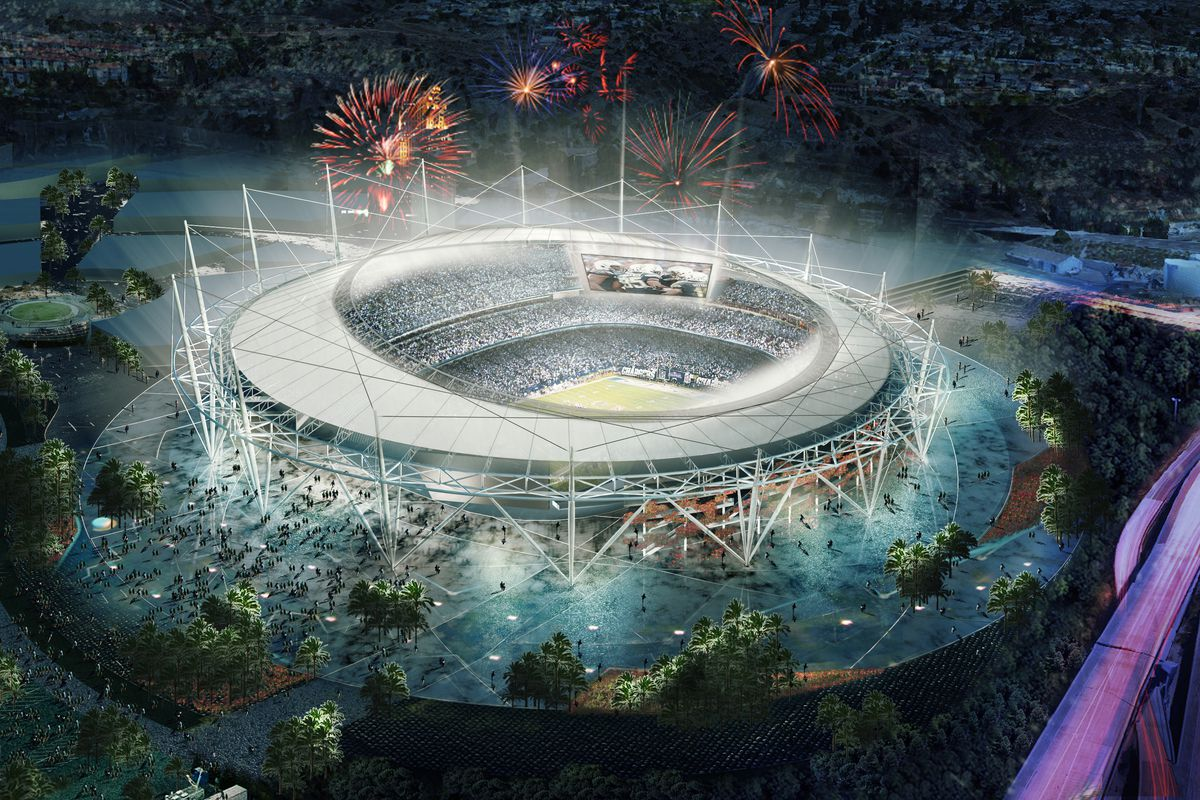 A proposed new stadium in Mission Valley