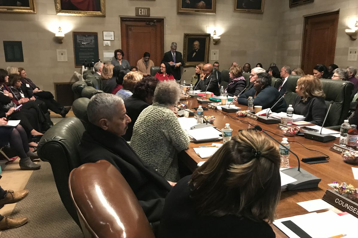 The New York Board of Regents meets at its February 2019 meeting.