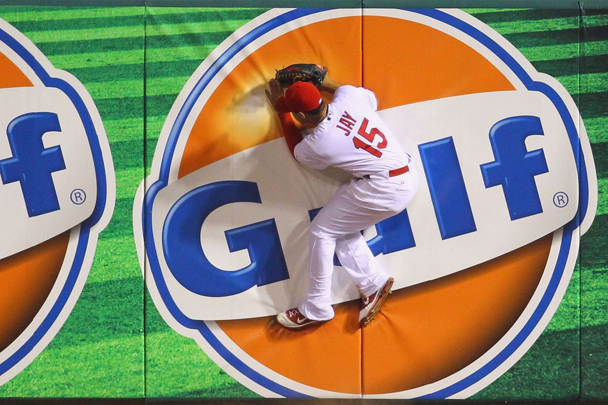 ST. LOUIS, MO - JUNE 2: The Saint Louis Cardinals trade the advertising rights of OF Jon Jay to Gulf Oil.  (Photo by Dilip Vishwanat/Getty Images)