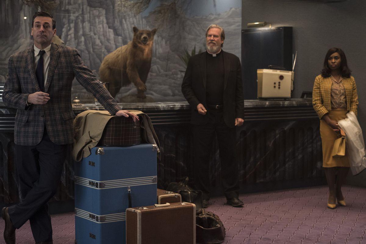 Jon Hamm, Jeff Bridges, and Cynthia Erivo in Bad Times at the El Royale.