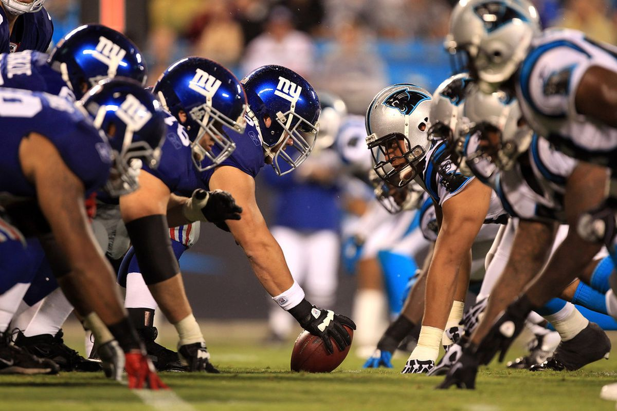 A general view of the New York Giants versus Carolina Panthers during their preseason game