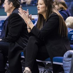 BYU associate athletic director Liz Darger attends a BYU sporting event at the Marriott Center in Provo, Utah.
