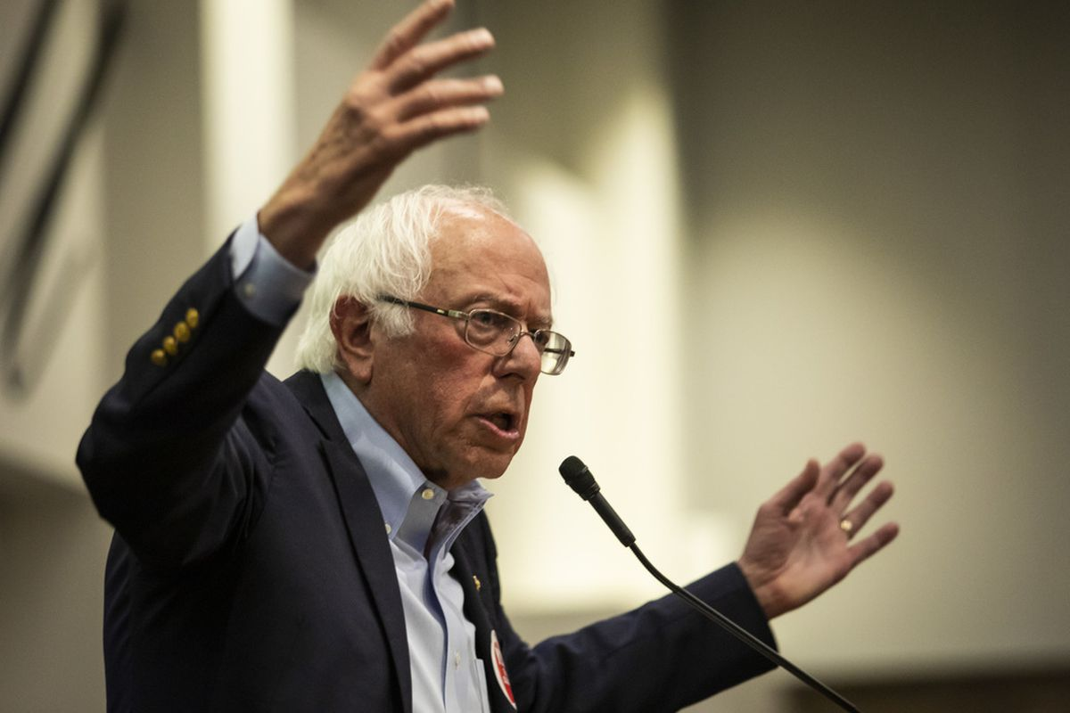 Bernie Sanders speaks during a rally at the Chicago Teachers Union headquarters,