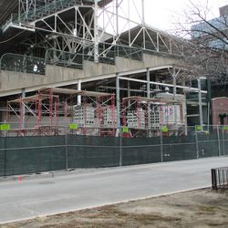 The left field corner, new scaffolding and cinderblock indicate some future building of significance