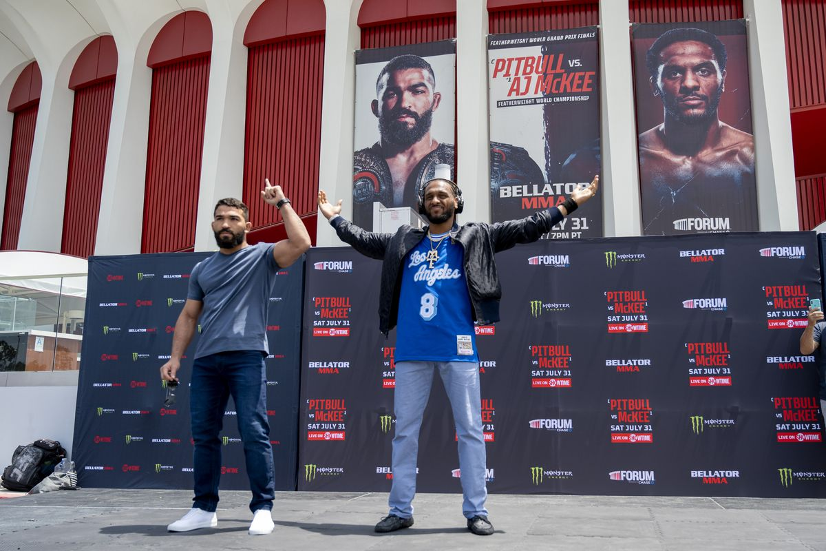 """Open workout at The Forum for the Bellator 263 $1 million featherweight title fight between AJ McKee and champion Patricio """"Pitbull"""" Freire"""