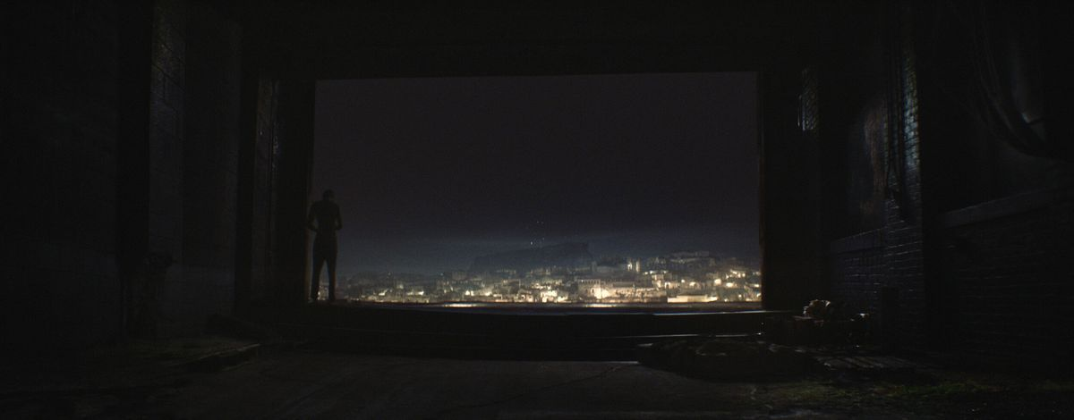 A figure in darkness stands at the edge of an immense open window out on a vast city at night in The Wanting Mare