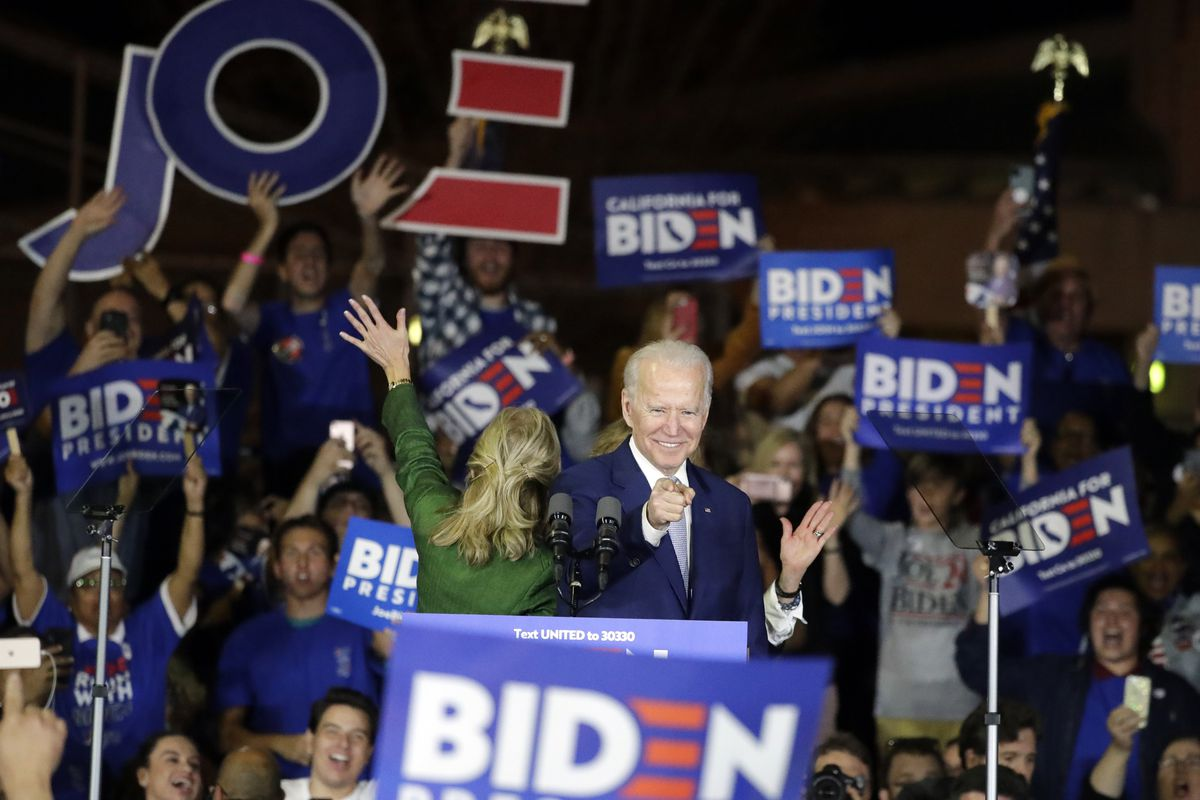 Democratic presidential candidate former Vice President Joe Biden speaks at a campaign rally Tuesday in Los Angeles.
