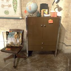 Brown and chrome cabinet: $350