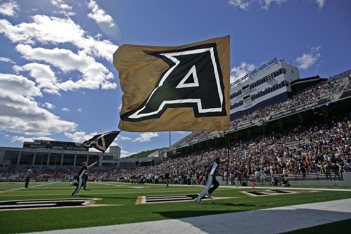 Sep 15, 2012; West Point, NY, USA; Army Black Knights cheerleaders celebrate after a touchdown against Northern Illinois Huskies at Michie Stadium. Mandatory Credit: Danny Wild-US PRESSWIRE