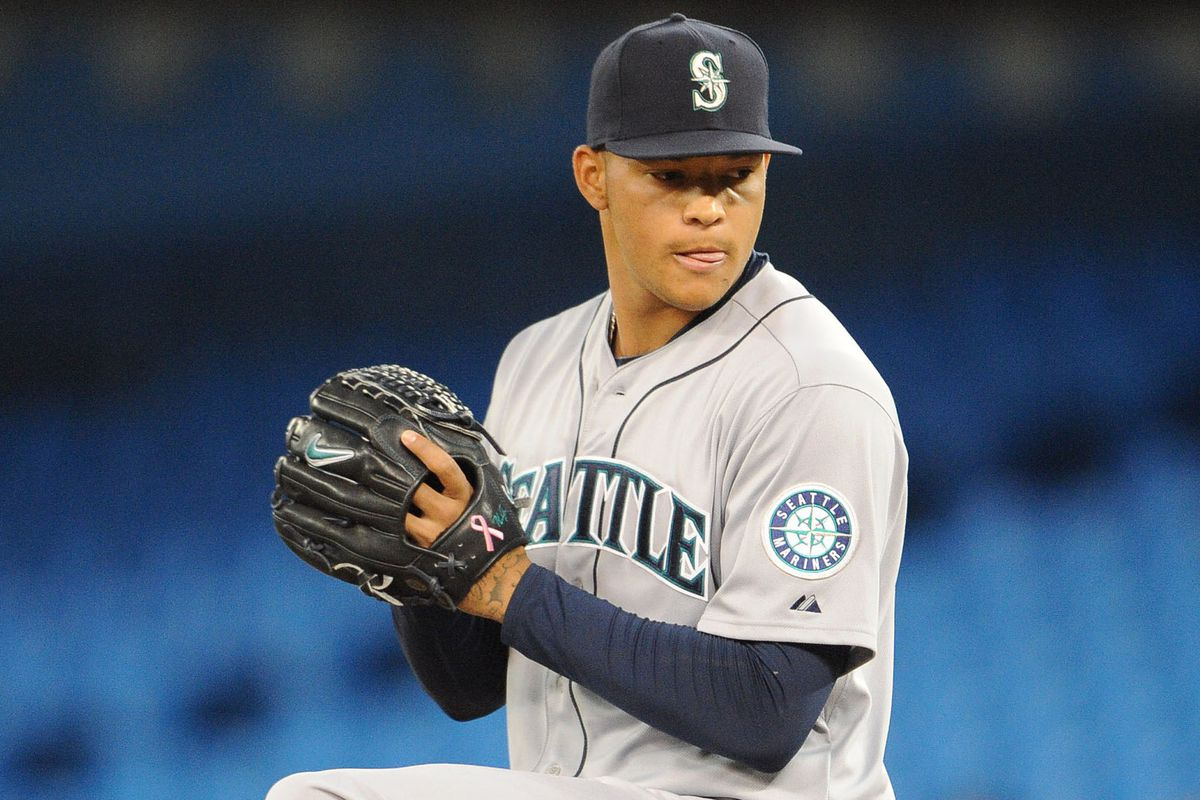 Taijuan Walker showing off some concentration tongue.