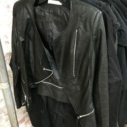 Sample leather jacket, $299
