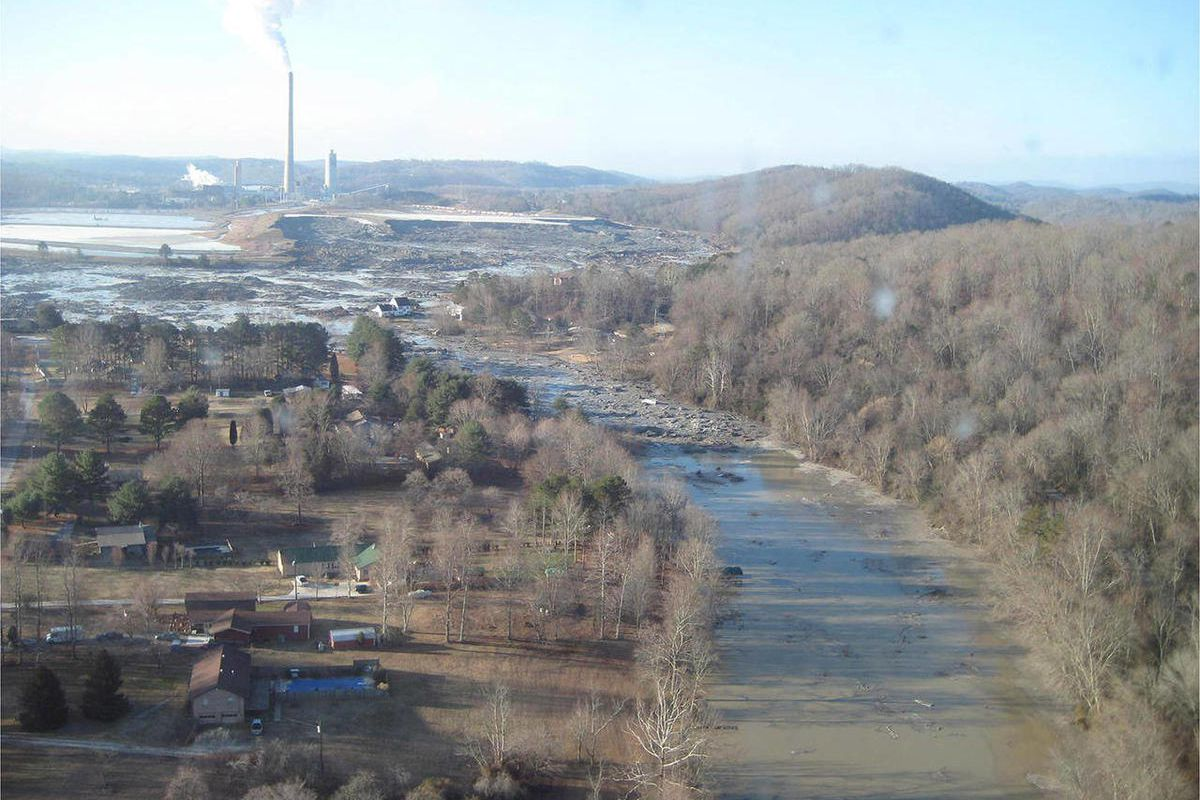FILE - This file handout photo provided by the Tennessee Valley Authority shows the massive ash spill at the Kingston Fossil Plant in Kingston, Tenn., on Dec. 23, 2008, the day following the spill. The spill is considered one of the nation's worst environ