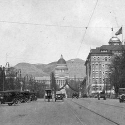 A view of the Utah State Capitol from downtown Salt Lake City on April 6, 1917.