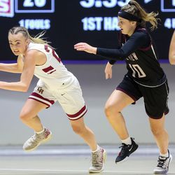 Cedar's guard Mayci Torgerson (23) drives the ball against Pine View during the 4A girls championship basketball game at the Dee Events Center in Ogden on Saturday, Feb. 29, 2020.