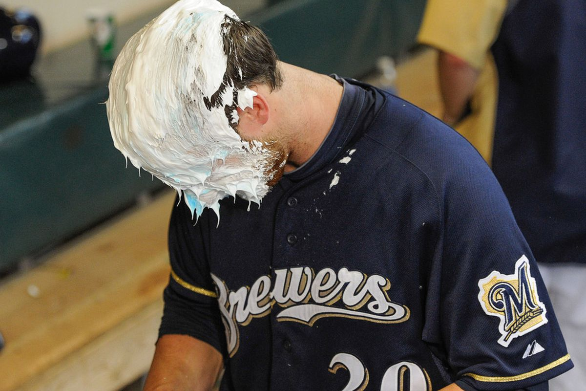 While it may seem like Jonathan Lucroy got a shaving cream pie from Shaun Marcum out of celebration, the real reason was that Marcum was upset after Lucroy's massive day ruined his predictions.