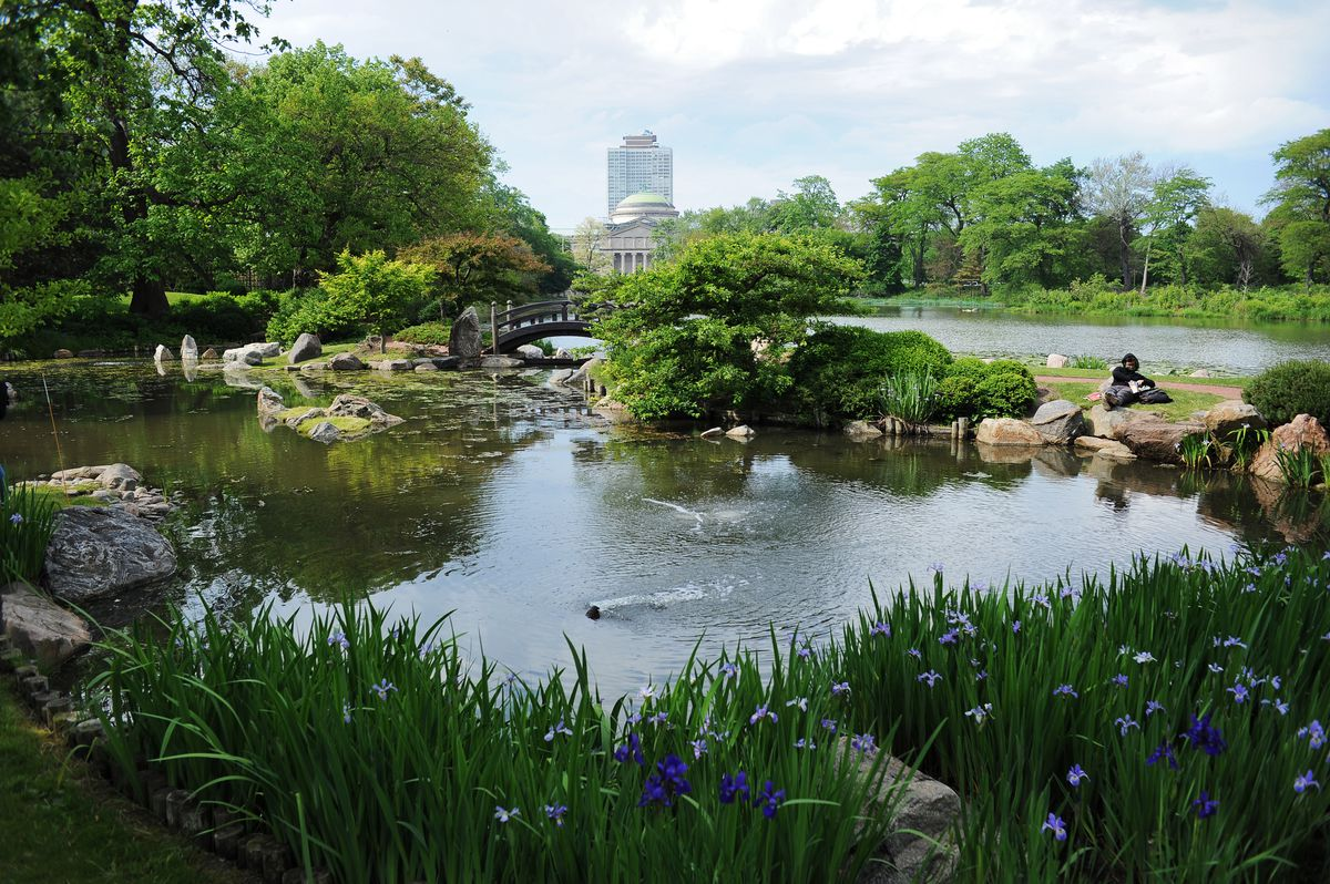 Osaka Garden, Japanese garden on Jackson Park's Wooded Island featuring a waterfall and foot bridges. | Victor Hilitski/For the Sun-Times
