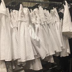 Perforated white skirt, $125
