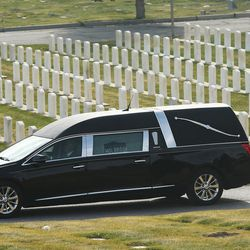 A hearse carrying the casket of former Utah Gov. Olene Walker travels through the Salt Lake City Cemetery in Salt Lake City on Friday, Dec. 4, 2015. Walker died of natural causes at age 85.
