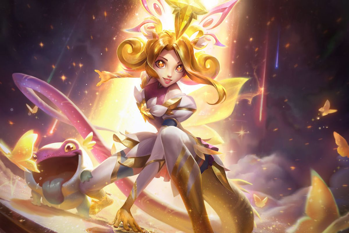 Star Guardian Neeko Prestige Edition lands among golden butterflies, glowing
