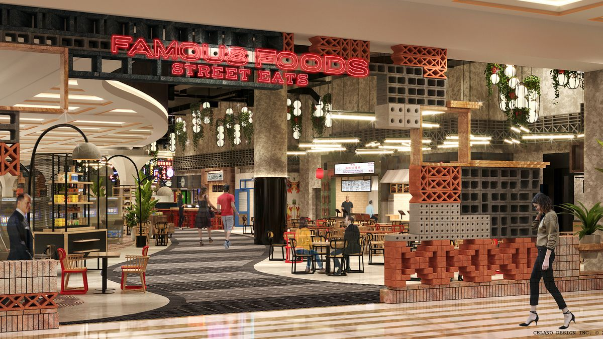 A rendering of an entrance to a food hall