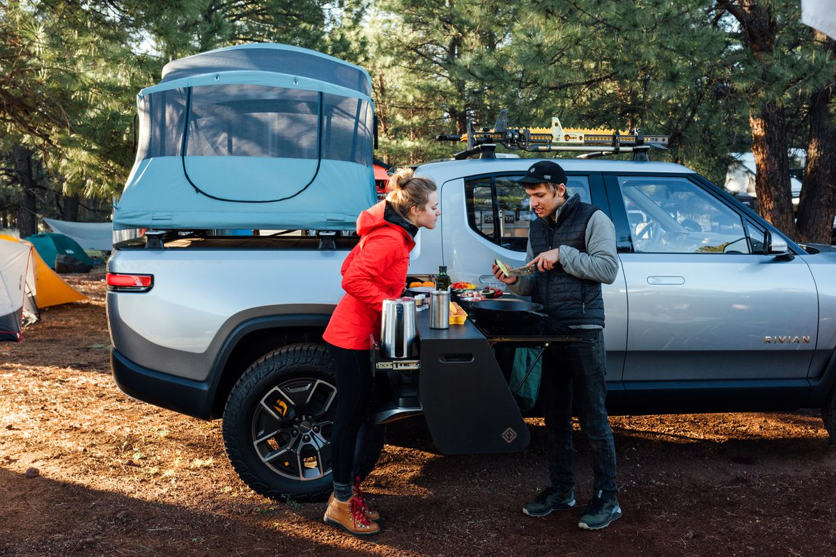 Rivian electric truck comes with slide-out camping kitchen