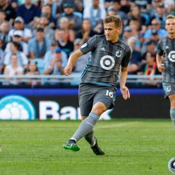 August 14, 2019 - Saint Paul, Minnesota, United States - Minnesota United midfielder Robin Lod (16) passes the ball during the match against the Colorado Rapids at Allianz Field.