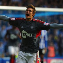 SHEFFIELD, ENGLAND - SEPTEMBER 22: Marcos Alonso of Bolton celebrates scoring to make it 1-0 during the npower Championship match between Sheffield Wednesday and Bolton Wanderers at Hillsborough Stadium on September 22, 2012 in Sheffield, England. (Photo