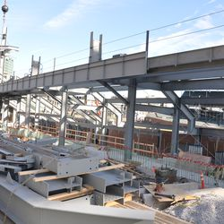 Trailer loaded with girders on Waveland -