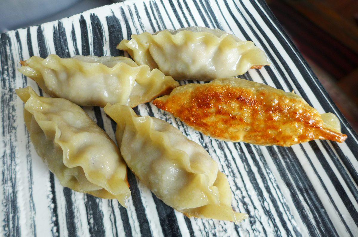 Five giant dumplings browned on the bottom by House of Mandu