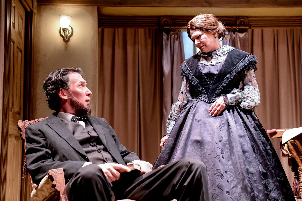 """Lawrence Grimm plays President Lincoln and Linda Reiter is Mary Todd Lincoln star in """"The Heavens are Hung in Black.""""   Evan Hanover"""