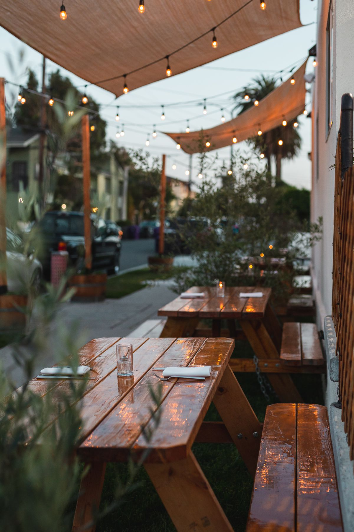 Outdoor seating at Heritage restaurant in Long Beach, California