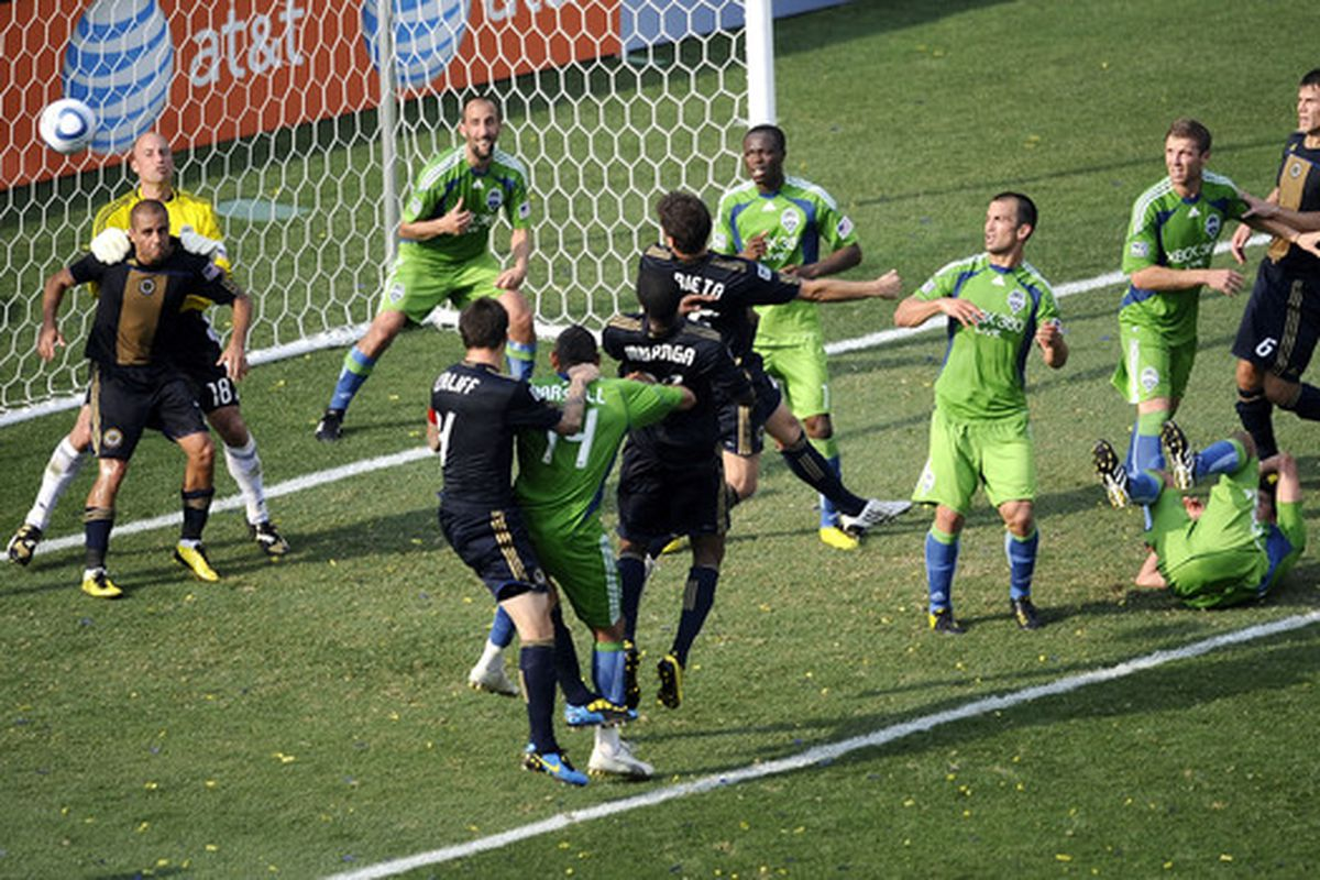 CHESTER, PA - JUNE 27:  Kasey Keller #18 of the Seattle Sounders FC makes a save against the Philadelphia Union at the PPL Park stadium opener on June 27, 2010 in Chester, Pennsylvania.  (Photo by Jeff Zelevansky/Getty Images)